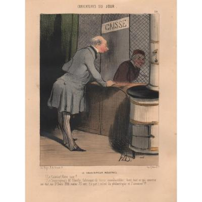Lithographie De Daumier : Le Souscripteur Industriel
