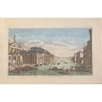 Vue d'Optique Fin XVIIIè :Venise, Le Grand Canal Et l'Eglise San Stae ou Sant'Eustachio