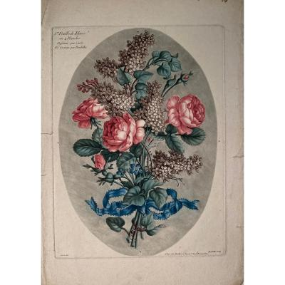 18th Century Color Printed Engraving By Roubillac: Bouquet Of Flowers