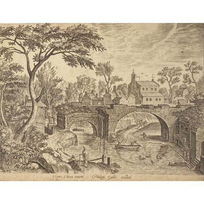 XVIth Print After Hendrick Van Cleve: Landscape And Ruins