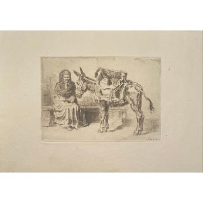 Print By Felix Buhot: The Assisi Cacoletiere