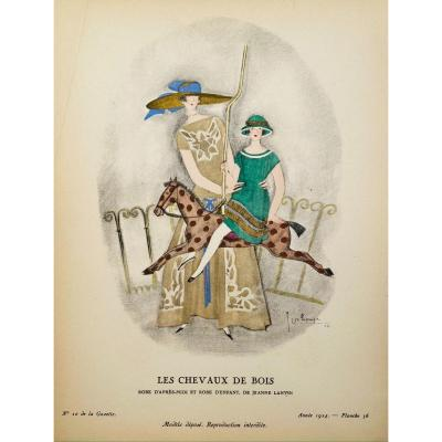 Stencil By Lepape: The Wood Horses, Afternoon Dress And Child Dress, By Jeanne Lanvin