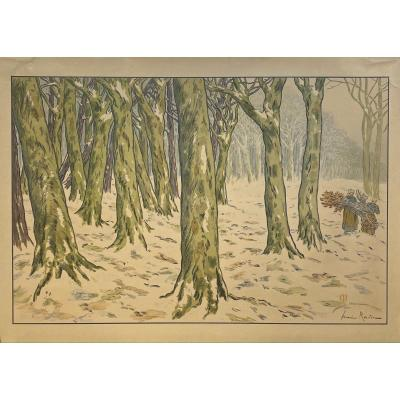 Countersigned Lithograph By Henri Riviere: The Wood, Winter