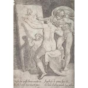 XVIth Print By Bonasone: Apollo Standing Behind A Woman Or Allegory Of Painting