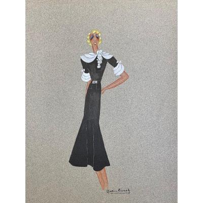 Watercolor By Jean Dessès: Dress Project For Mistinguett