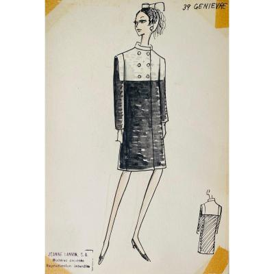 Fashion Drawing From Maison Lanvin, Model 39: Genievre