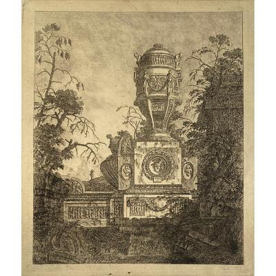 XVIIIth Engraving By Le Geay: Collection Of Various Subjects Of Vases, Tombs, Ruins And Fountains