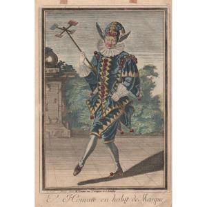 Eau-forte Début XVIIIè De Landry : l'Homme En Habit De Masque