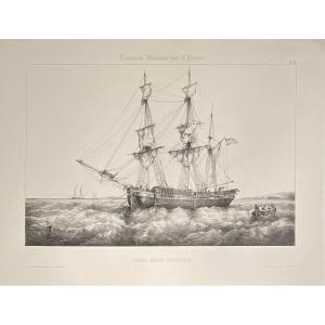 Lithographie De Perrot : Trois-mats Suedois