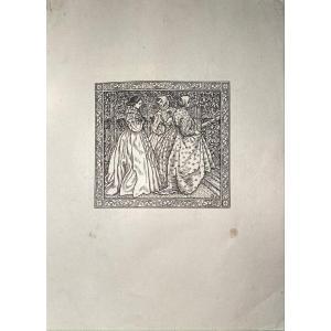 Xylographie De Pissarro : Roses d'Antan