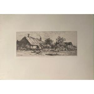 Etching By Charles Jacque: Chaumieres Bourguignonnes