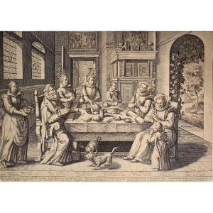 Early 17th Century Engraving By Baudous: Family In Front Of A Richly Dressed Table