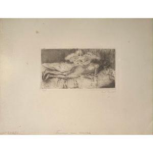 Estampe d'Ernest Rouart : Femme Nue Couchée