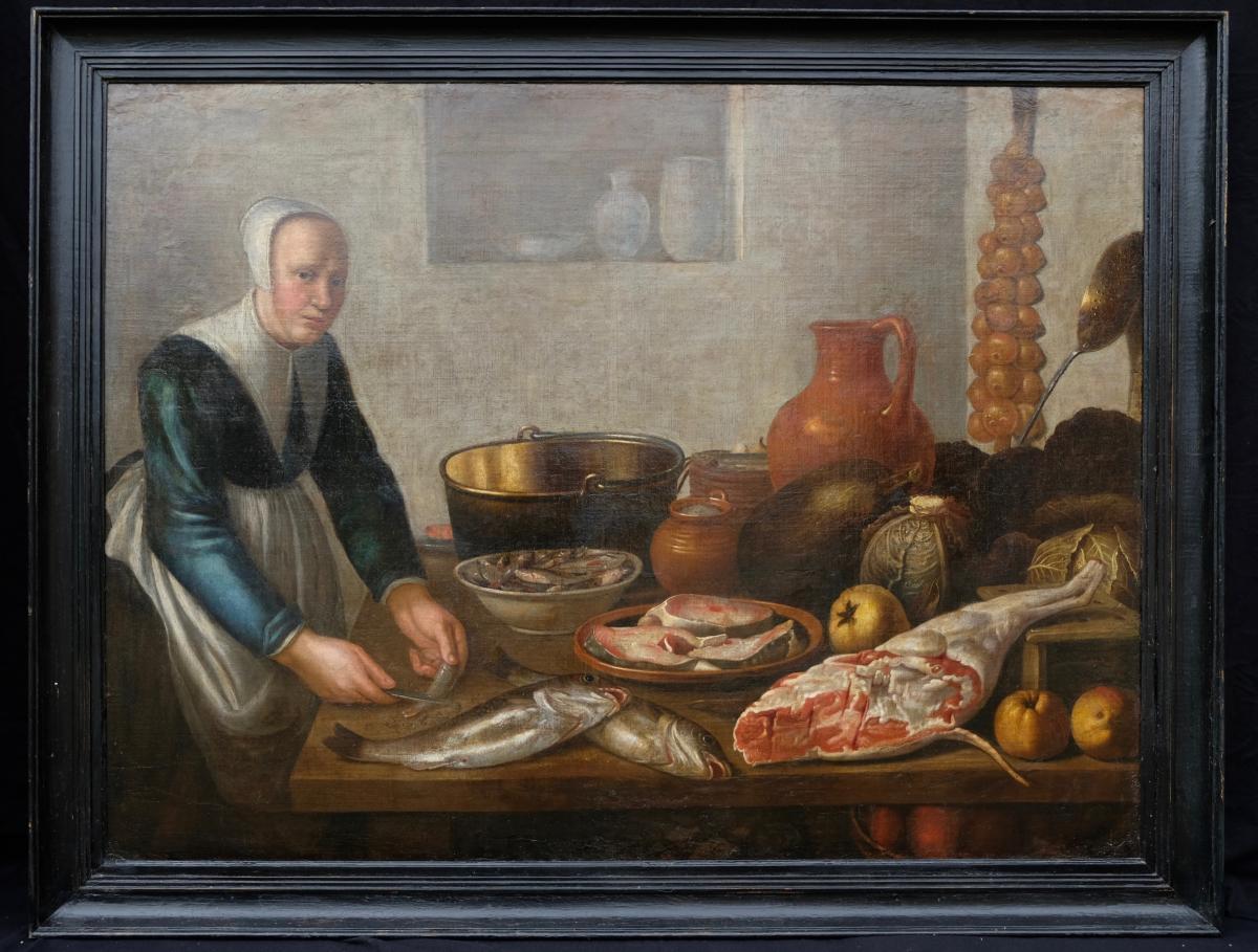 Ecole Hollandaise XVIIème, Entourage De Van Schooten : Femme Dans La Cuisine ( 139 X 103,5 Cm)