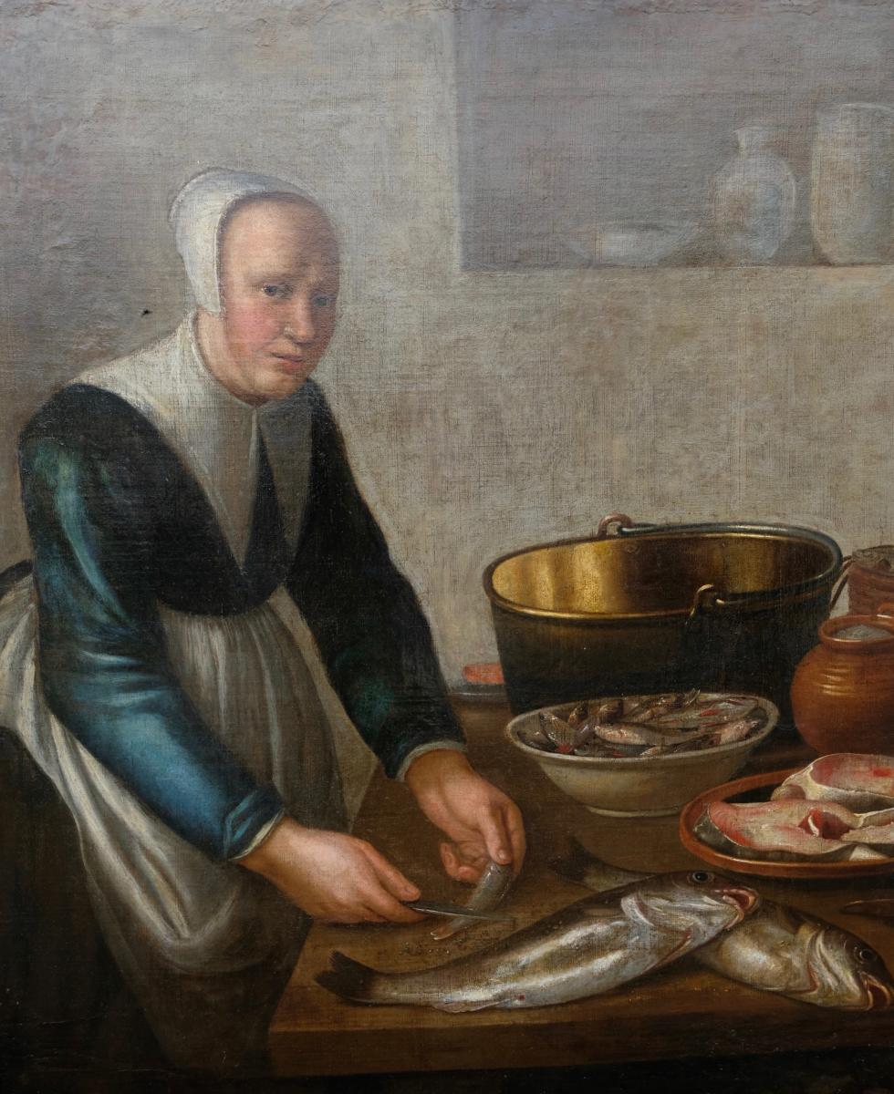 Ecole Hollandaise XVIIème, Entourage De Van Schooten : Femme Dans La Cuisine ( 139 X 103,5 Cm)-photo-1