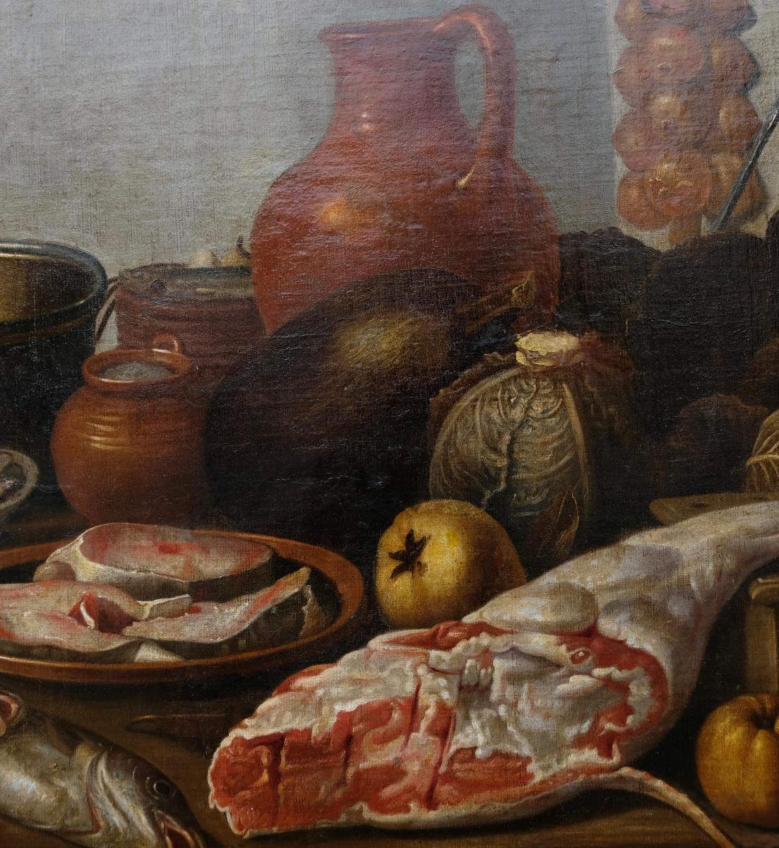Ecole Hollandaise XVIIème, Entourage De Van Schooten : Femme Dans La Cuisine ( 139 X 103,5 Cm)-photo-2