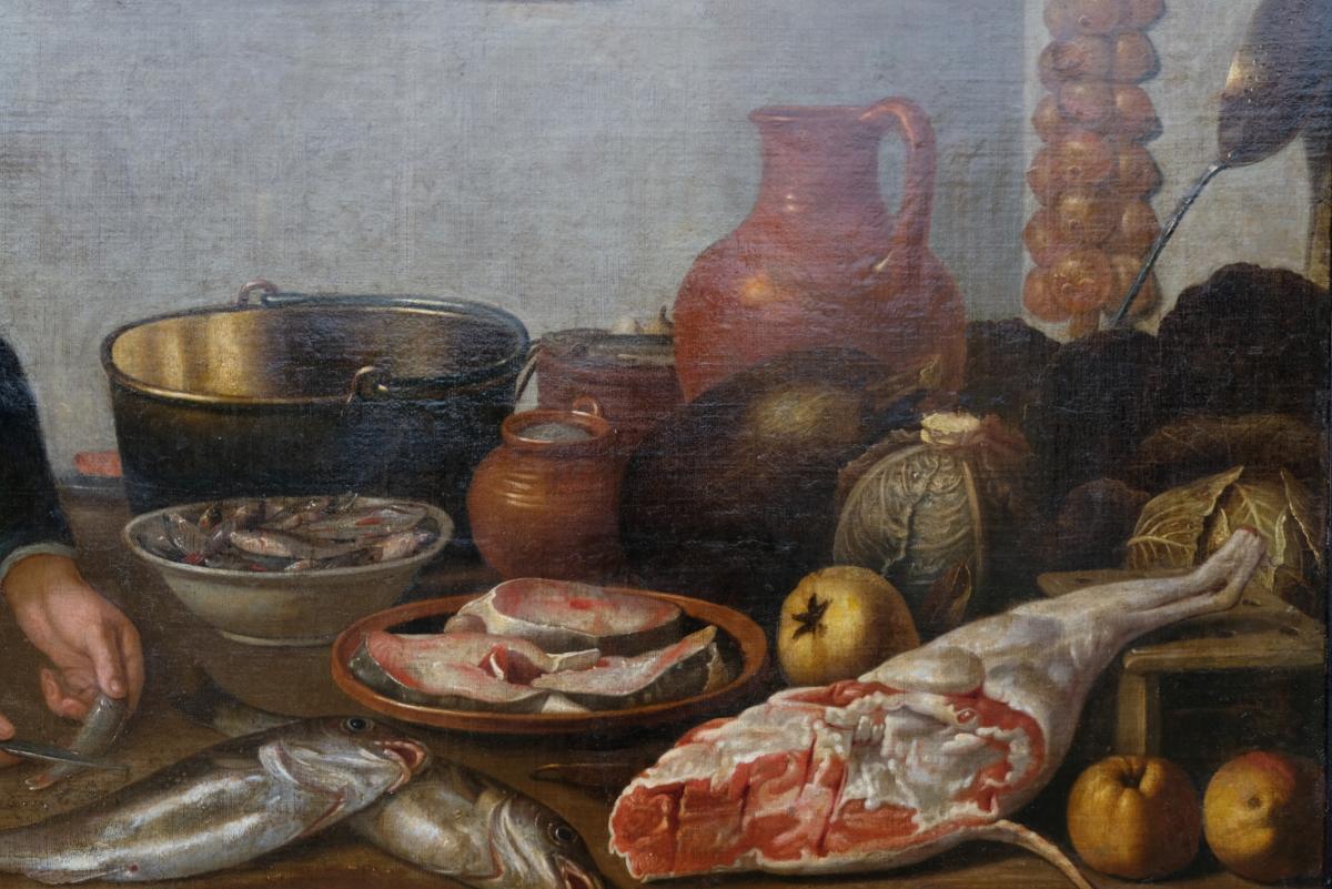 Ecole Hollandaise XVIIème, Entourage De Van Schooten : Femme Dans La Cuisine ( 139 X 103,5 Cm)-photo-3