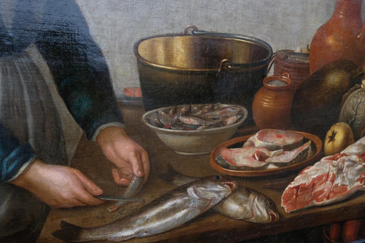 Ecole Hollandaise XVIIème, Entourage De Van Schooten : Femme Dans La Cuisine ( 139 X 103,5 Cm)-photo-4