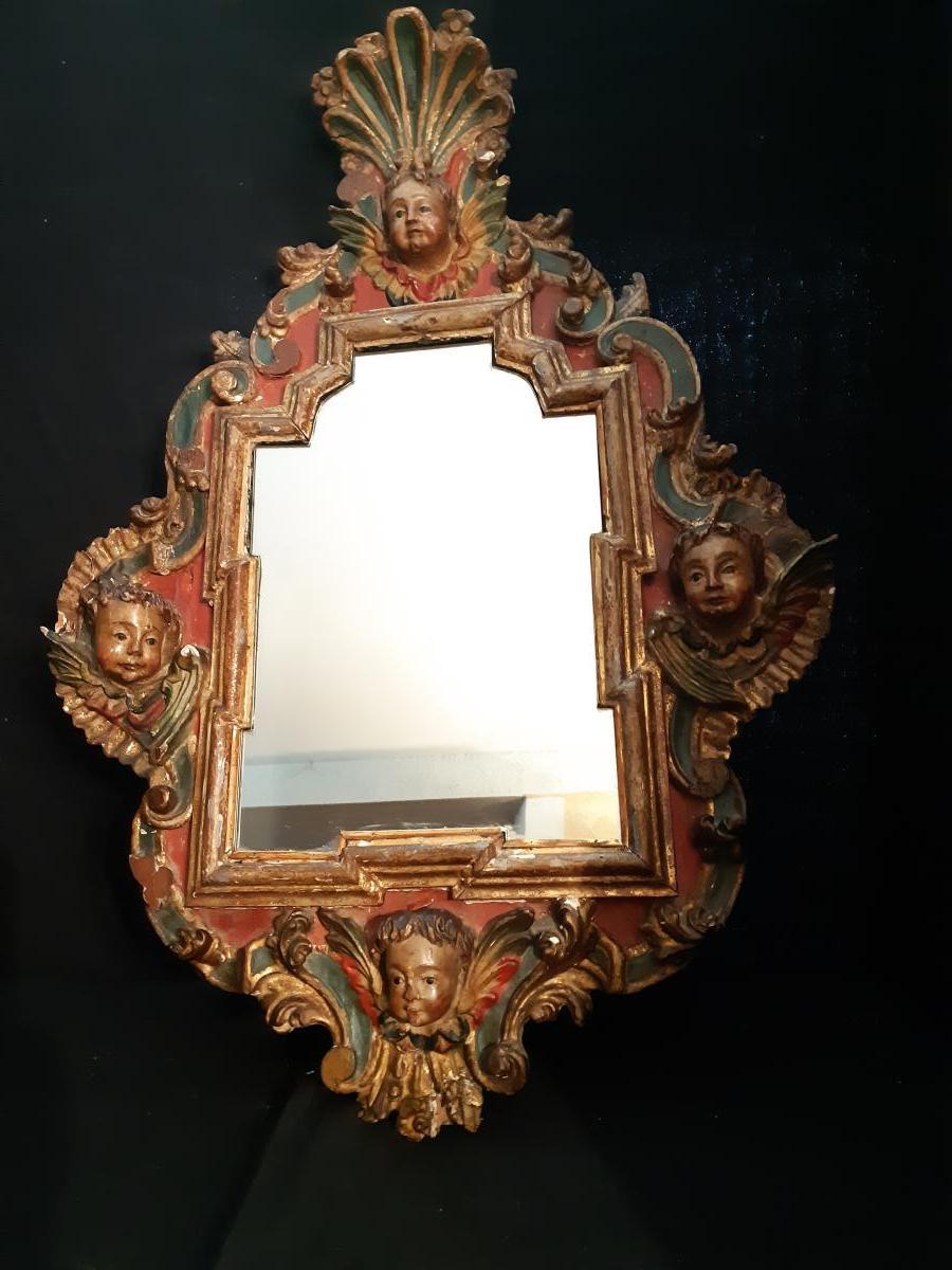 Miroir Italien XVIIIème Dans Un Cadre Sculpté  (H 99 cm / L 68 cm)