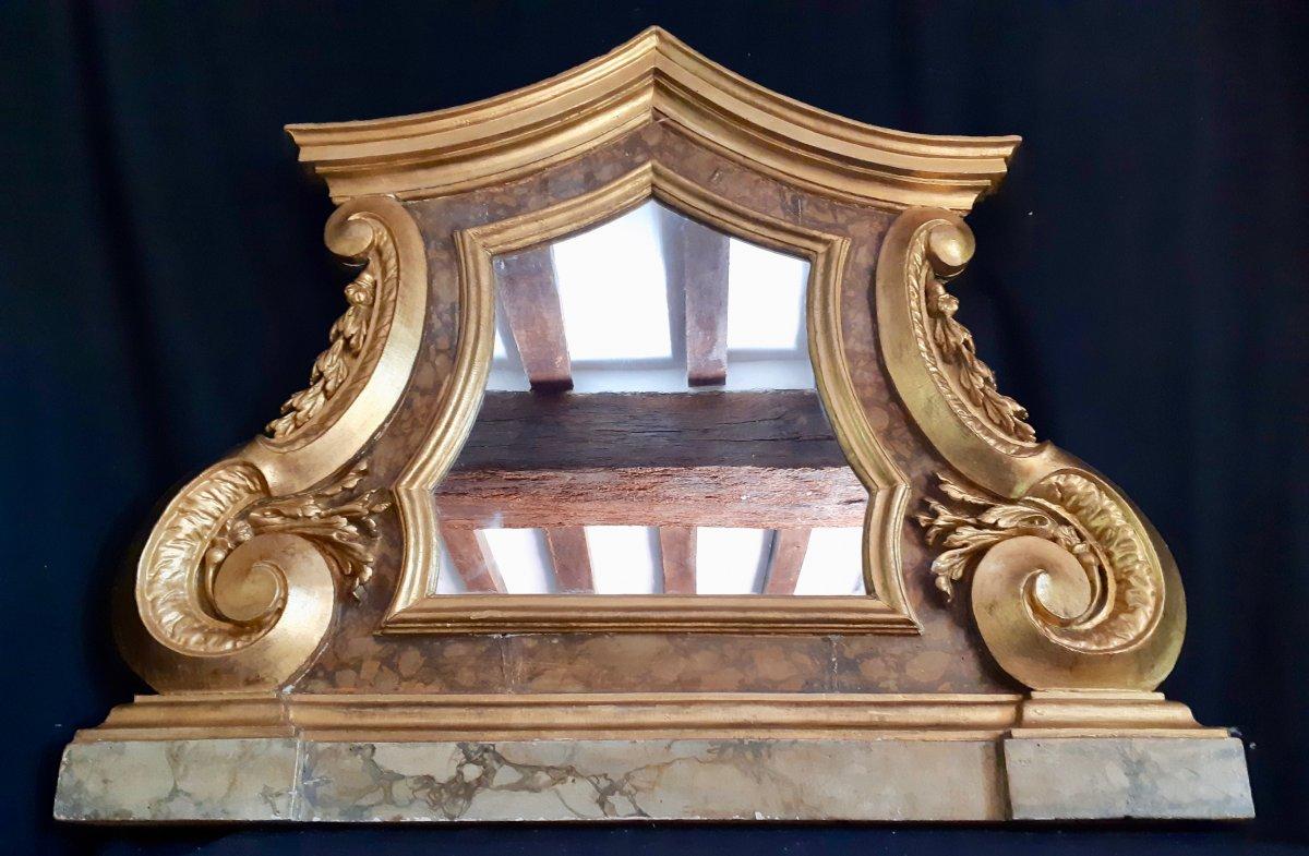 Grand Miroir En Bois Peint, Italie XVIIIème (h 95 Cm L 114 Cm)