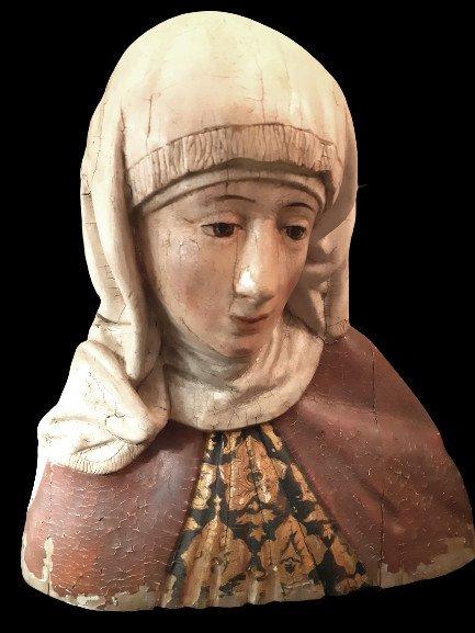 Allemagne Du Sud, Début XVIIème  :  Buste De Femme en bois polychromé ( H 36,5 Cm)