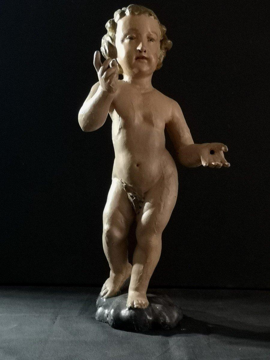 Fin  XVIIIème Début XIXème, Sculpture d' Enfant Jésus (47 Cm)