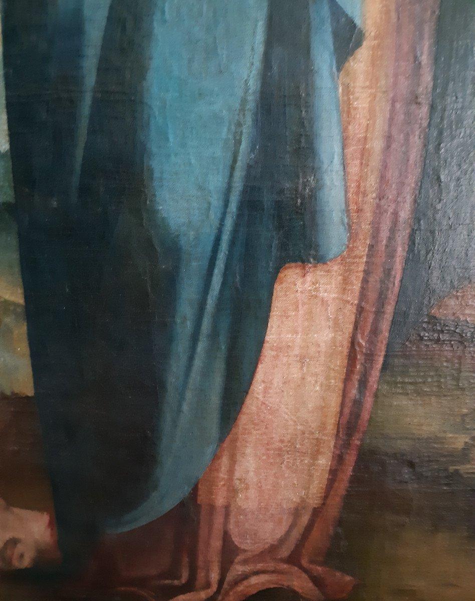 Grand tableau d'une Ecole Française XVIIIème, Sainte Catherine d'Alexandrie ( H 129 cm /  L 89 cm )-photo-1