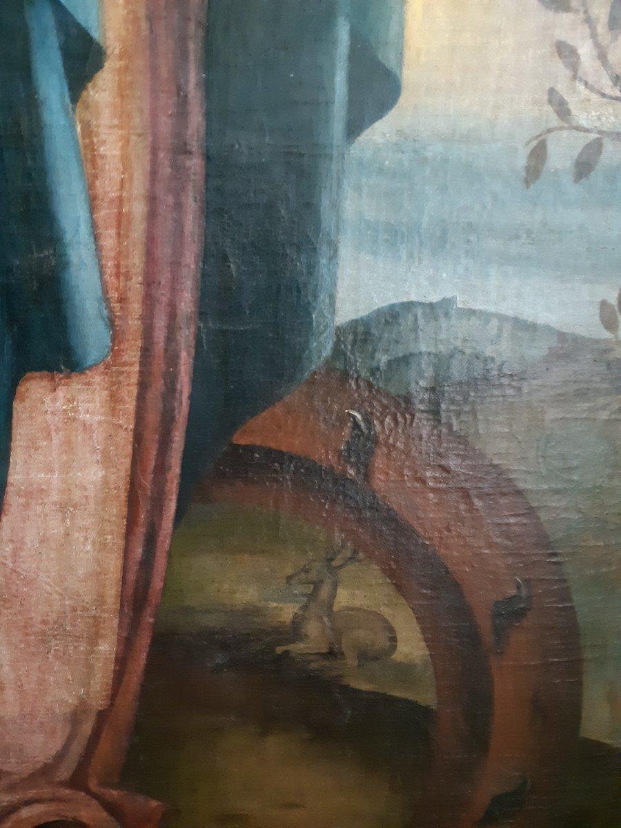 Grand tableau d'une Ecole Française XVIIIème, Sainte Catherine d'Alexandrie ( H 129 cm /  L 89 cm )-photo-2