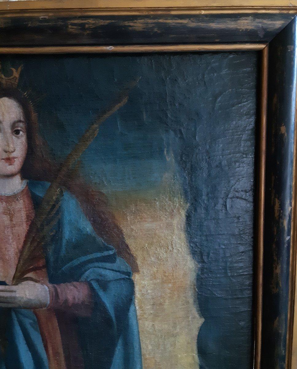 Grand tableau d'une Ecole Française XVIIIème, Sainte Catherine d'Alexandrie ( H 129 cm /  L 89 cm )-photo-5
