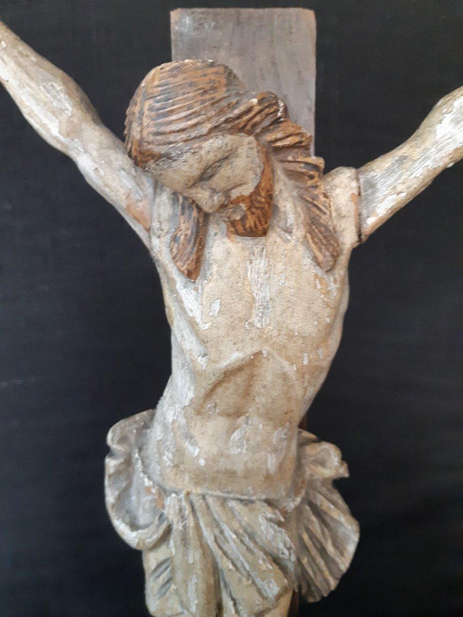 Sculpture En Bois Sculpté Début XVIIIème, Corpus Christi (H 30 cm)-photo-1