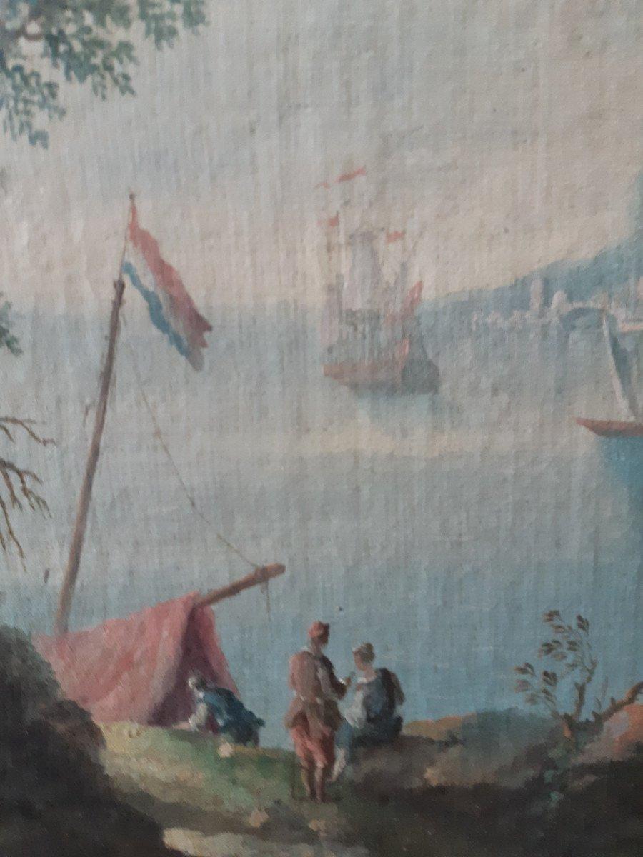 Ecole Hollandaise XVIIIème, Paire De Scène Portuaire (H 49 Cm / L 74 Cm)-photo-4