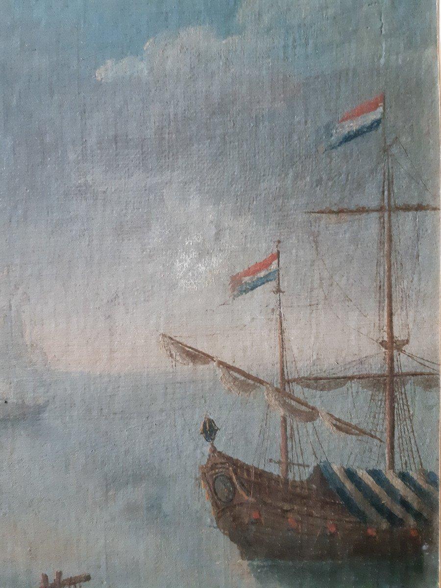 Ecole Hollandaise XVIIIème, Paire De Scène Portuaire (H 49 Cm / L 74 Cm)-photo-6