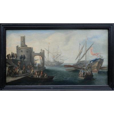 Attribué à Cornélis De Wael (1592-1667) l'Arrivee De La Galere Et Le Dechargement Des Ballots