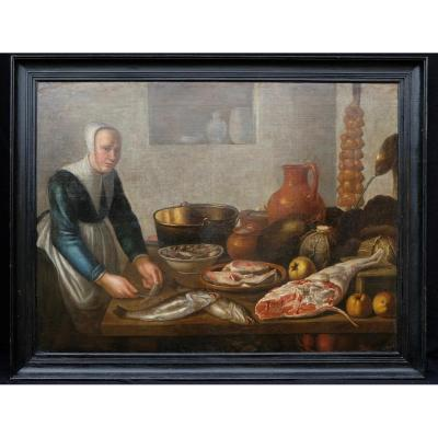 Dutch School XVIIth, Entourage De Van Schooten: Woman In The Kitchen (139 X 103,5 Cm)