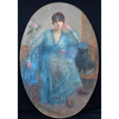 French School Early Twentieth Portrait Of An Elegant. Pastel 160 X 109cmpastel;