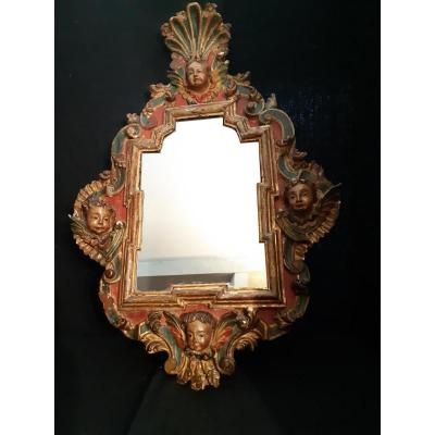 Italian XVIIIth Mirror In A Carved Frame (h 99 Cm / L 68 Cm)