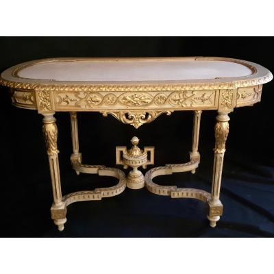 Table Console De Milieu En Bois Doré Sculpté Et Plateau De Marbre Epoque Louis XVI (L 130 / H 77 / P 70 cm)