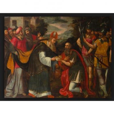 Ecole Flamande 1560 Suiveur De Michel Coxie, La Rencontre d'Abraham Et De Melchisedech (73x105)