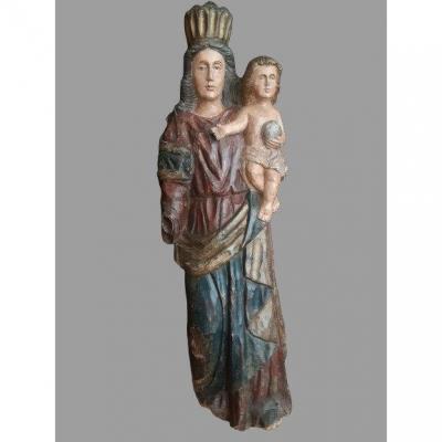 Grande Vierge à l'Enfant En Bois Sculpté, Début XIX ème  (H 107 Cm)