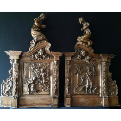 Walnut Carved Retable Elements XVII (h 67,5 Cm / L 62 Cm Each)