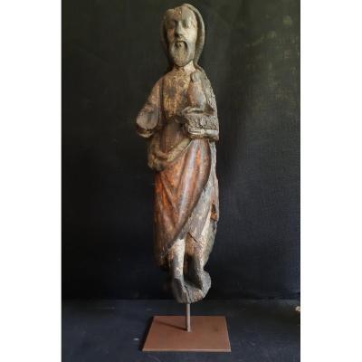 Saint Jean-Baptiste en bois sculpté et polychromé,  fin du XIVème ( H 63,5 cm)
