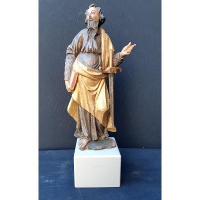 Saint Paul, Sculpture Bois Polychromé Seconde Moitié Du  XVIIème (H 33 Cm Sans Socle)