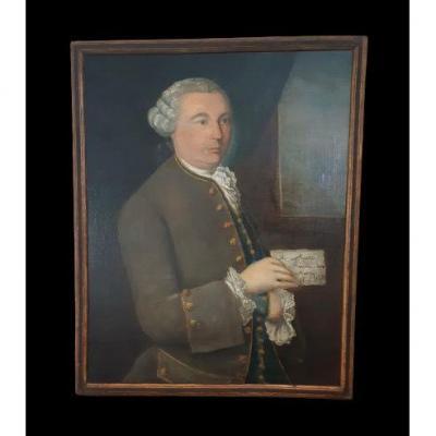 Ecole Française XVIIIème, Portrait d'Homme à La Lettre ( H 74  L 60 Cm)
