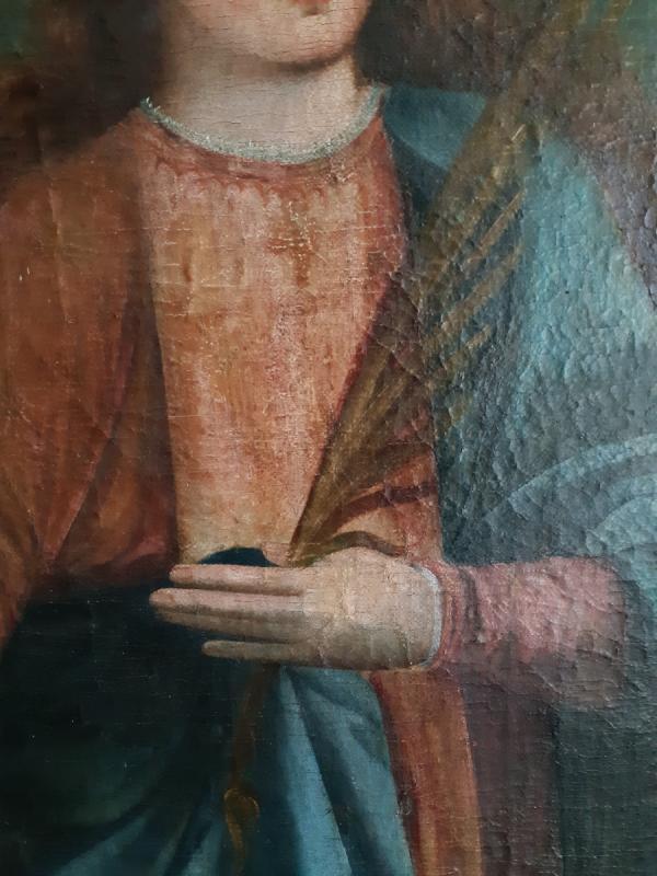 Grand tableau d'une Ecole Française XVIIIème, Sainte Catherine d'Alexandrie ( H 129 cm /  L 89 cm )-photo-3