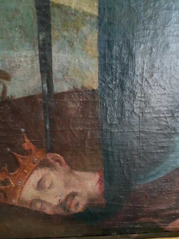Grand tableau d'une Ecole Française XVIIIème, Sainte Catherine d'Alexandrie ( H 129 cm /  L 89 cm )-photo-4