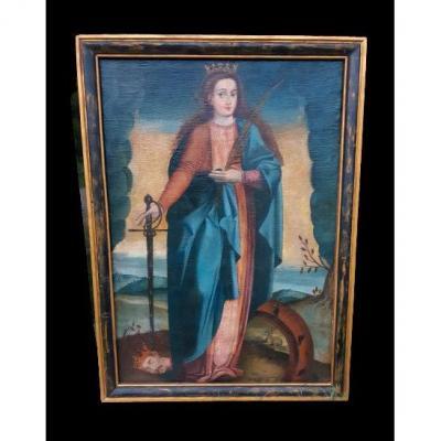 Grand tableau d'une Ecole Française XVIIIème, Sainte Catherine d'Alexandrie ( H 129 cm /  L 89 cm )