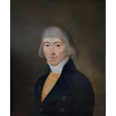 Ecole Flamande Fin XVIIIè Portrait d'Homme ( H 59 cm / L 51 cm )