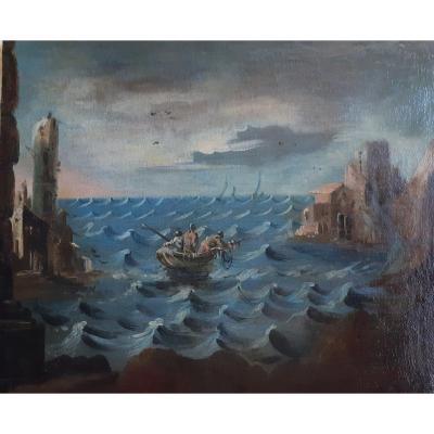 Ecole Italienne début XVIIIème  Pêcheurs en mer (H 58 / L 70 cm)