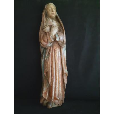 Grande Sculpture De Vierge De Calvaire En Bois Polychromé XVIème  (H109 Cm)