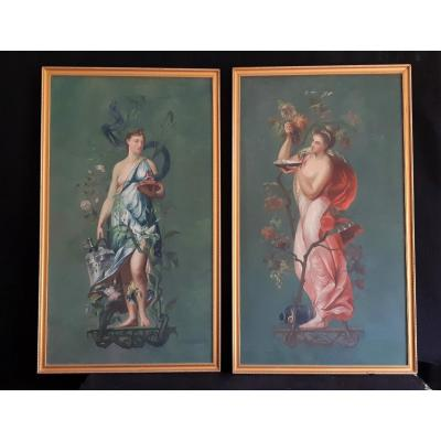 French School XIXth, Allegory Of Autumn And Allegory Of Love (h 100 / L 57cm)